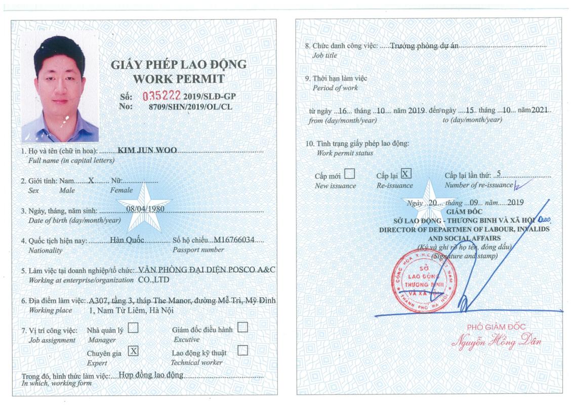giấy phép lao động theo quy định