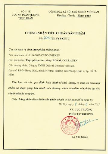 giấy chứng nhận tiêu chuẩn chất lượng cho thực phẩm chức năng