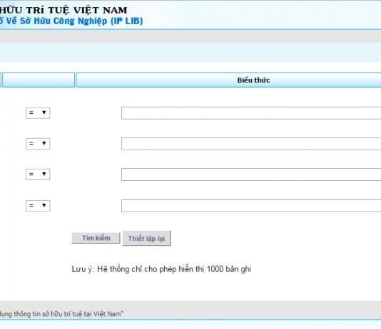 Giao diện website tra cứu nhãn hiệu hàng hóa trực tuyến cục sở hữu trí tuệ