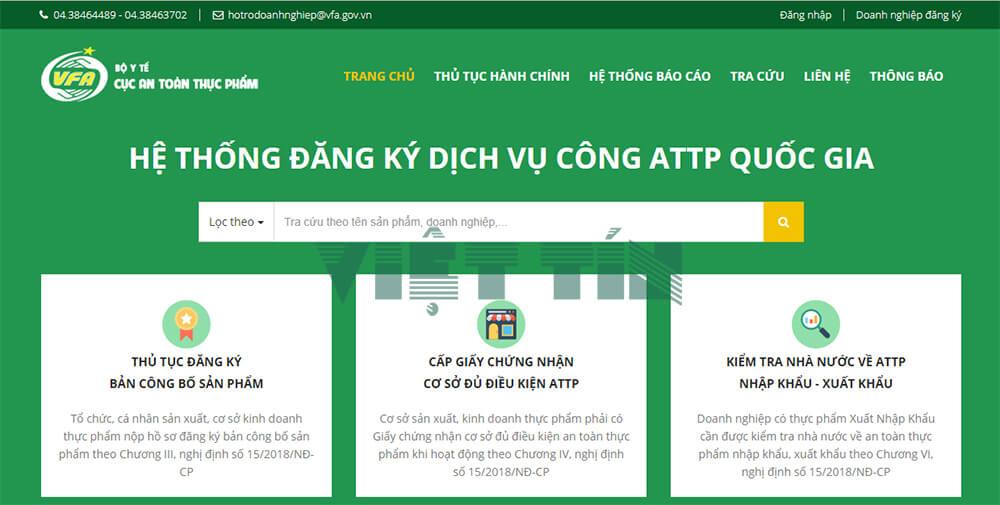 Cổng thông tin điện tử để doanh nghiệp tiến hành đăng ký công bố thực phẩm online