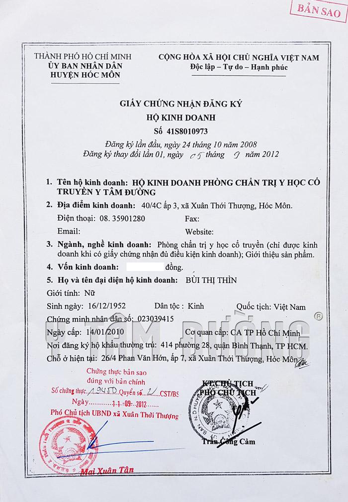 Mẫu giấy phép kinh doanh thuốc đông y