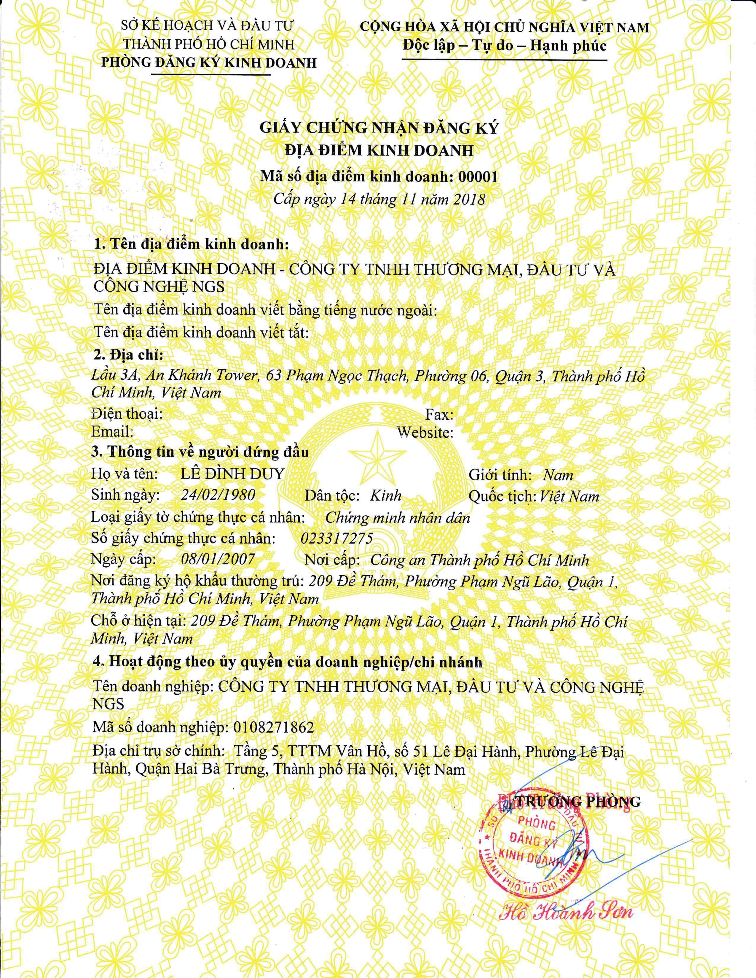 giấy đăng ký địa điểm kinh doanh